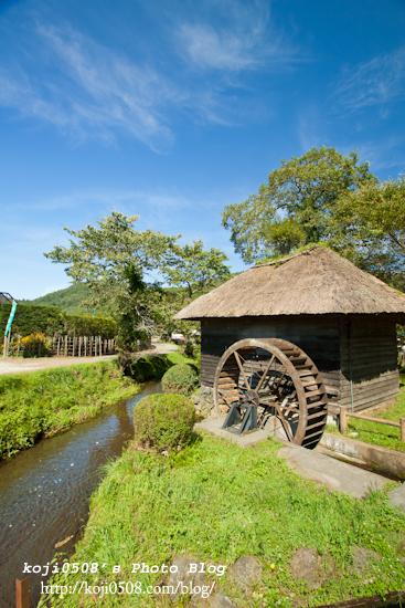 忍野八海の藁葺き屋根の水車小屋